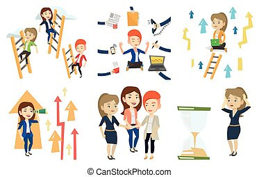 Vector set of business characters. - Woman looking at...