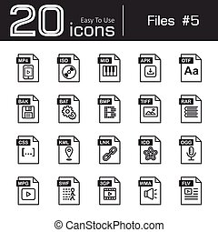 Files icon set 5 ( mp4 , iso , mid , apk , otf , bak , bat ,...