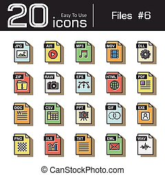 Files icon set 6 ( jpg , avi , mp3 , mov , dll , zip , raw ,...