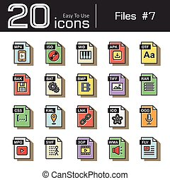 Files icon set 7 ( mp4 , iso , mid , apk , otf , bak , bat ,...