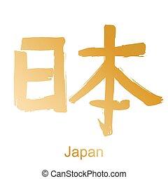 Kanji hieroglyph Japan - Kanji calligraphic word translated...