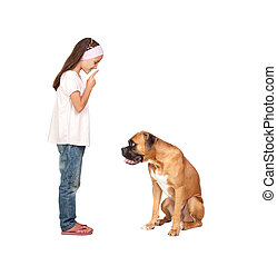 Adorable girl ordering silence his dog isolated on white...