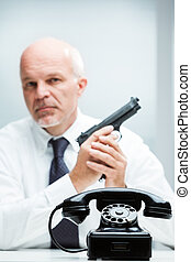 killer on demand waiting for you to call - concept of an...