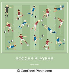 Set of soccer players.