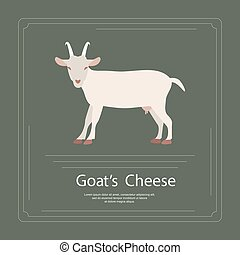 Logotype of goat's cheese in modern flat design. Perfect...