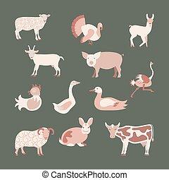 Set farm animals icon in modern flat design. Perfect organic...