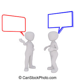 Controversy talk concept - Two faceless cartoon men with red...