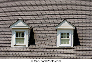 Two Dormers on Grey Shingle Roof - Two dormers on a steep...