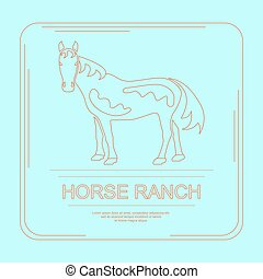 Logotype of horse ranch in modern thin line design. Perfect...