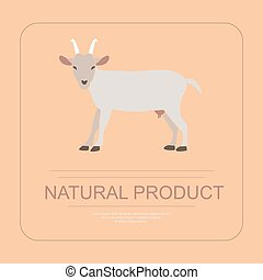 Logotype of natural product with goat in modern flat design....