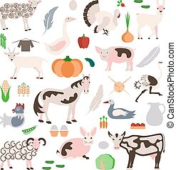 Set farm animals and vegetables icon in modern flat design....