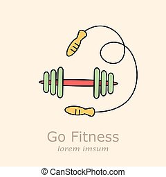skipping rope vector. - Skipping rope and dumbbells vector....