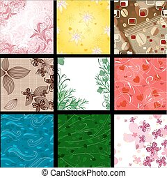 set of abstract floral background