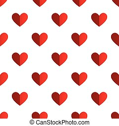 Seamless two tone red heart pattern on white