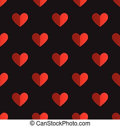 Seamless two tone red heart pattern on black