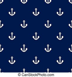 Seamless anchors pattern sign on navy blue background