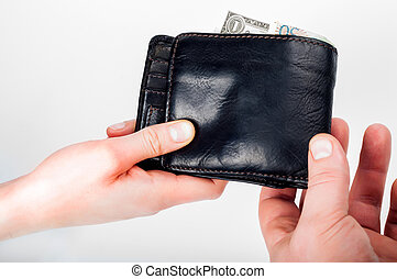 Hand over wallet with money from hand to hand