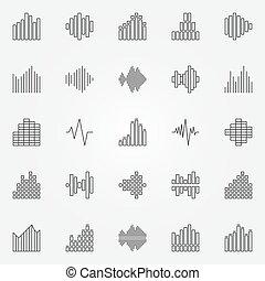 Music sound wave icons set - vector audio waveforms concept...