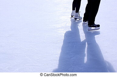 couple on skating rink - image of couple on skating rink