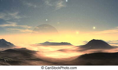 Moonrise And Sunrise On An Alien Planet - From glowing hazy...