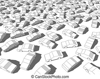 white cars standing out from others in giant traffic jam