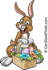 Easter Bunny Holding Egg Hunt Basket - A cartoon Easter...
