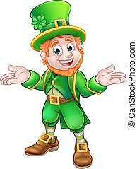 St Patricks Day Cartoon Leprechaun - A cute cartoon...