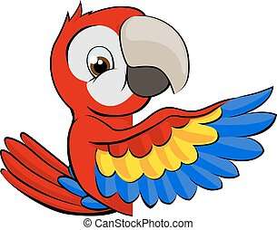 Peeking Cartoon Parrot - Cartoon parrot bird character...