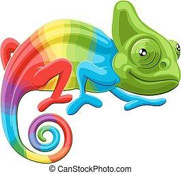 Rainbow Chameleon - Cartoon rainbow colored multicoloured...