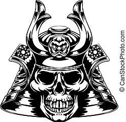 Skull Samurai - A skeletal skull face samurai with mask and...