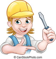 Woman Electrician Holding Screwdriver - An electrician...
