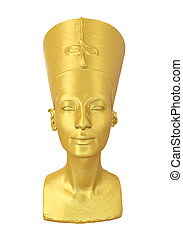 Bust of Queen Nefertiti isolated on white background. 3D...