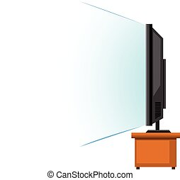 Flat screen television on wooden table illustration