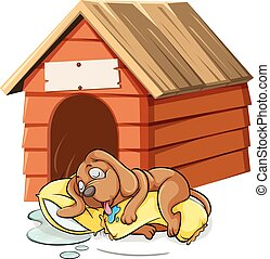 Dog sleeping in the doghouse illustration