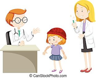 Doctors and sick girl at clinic