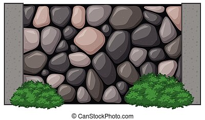 Stone wall with green bush