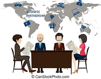 Infographic with worldmap and business people illustration