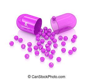 3d rendering of B1 vitamin pill