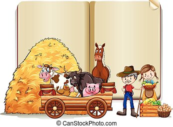 Farmers and animals in the book template illustration
