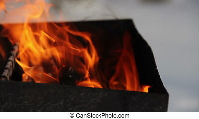 winter barbeque fire