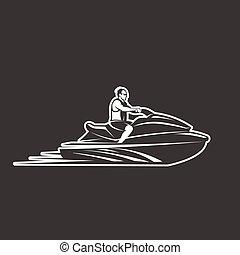 man on Jet Ski isolated black background - man on Jet Ski...