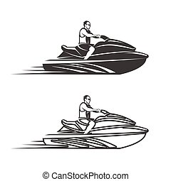 Set of man on Jet Ski isolated white background - Set of Jet...