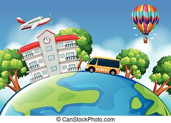 Schoolbus and building on earth illustration