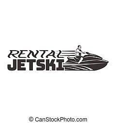 Jet Ski rental logo, badges and emblems isolated on white...