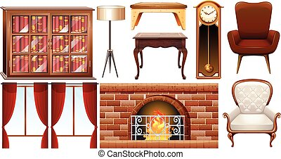 Different types of furnitures illustration