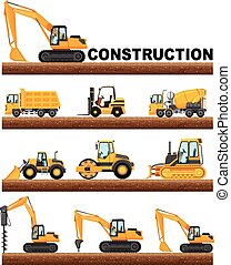 Different types of construction trucks on the ground...