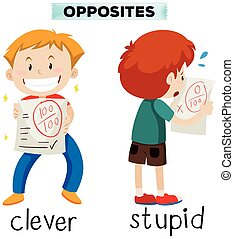 Opposite words for clever and stupid illustration