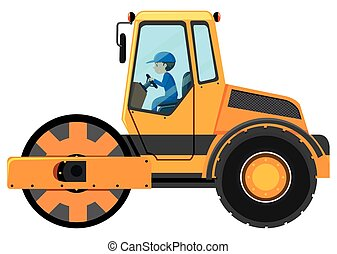 Man driving road roller illustration