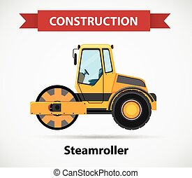 Construction icon for steamroller illustration