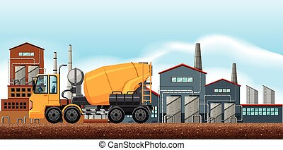 Factory scene with cement mixer illustration
